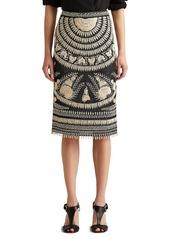Ralph Lauren Embroidered Silk Pencil Skirt
