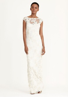 Ralph Lauren Embroidered V-Back Gown