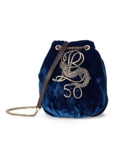 Ralph Lauren Embroidered Velvet Bag