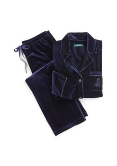 Ralph Lauren Embroidered Velvet Pajama Set