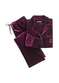 Ralph Lauren Embroidered Velvet Pajama Set