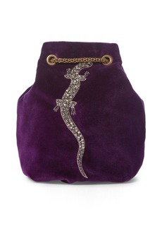Ralph Lauren Embroidered Velvet Pouch