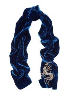 Ralph Lauren Embroidered Velvet Scarf