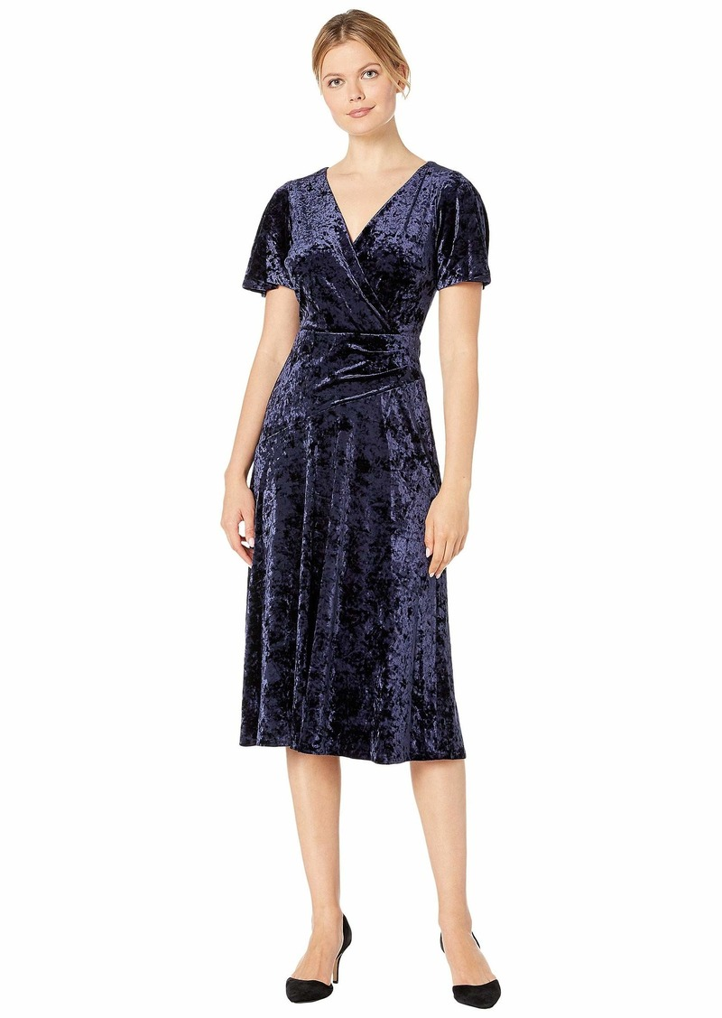 Ralph Lauren Empress Panne Velvet Marlin Short Sleeve Day Dress
