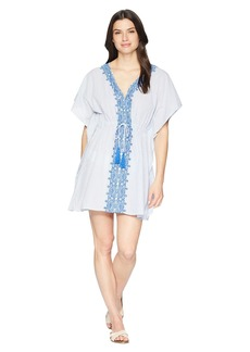 Ralph Lauren Emroidered Yarn-Dye Stripes Tunic Cover-Up