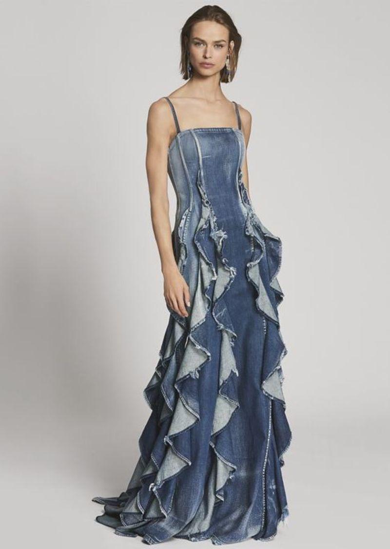 bfe11ac7fc Ralph Lauren Eve Ruffled Denim Gown