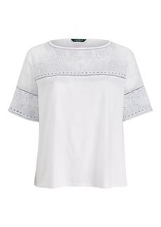 Ralph Lauren Eyelet Cotton-Blend T-Shirt