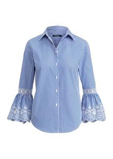 Ralph Lauren Eyelet-Cuff Striped Shirt