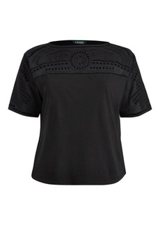 Ralph Lauren Eyelet-Embroidered Jersey Top