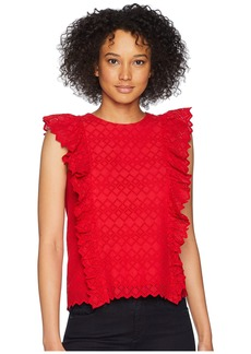 Ralph Lauren Eyelet Ruffled Cotton Top