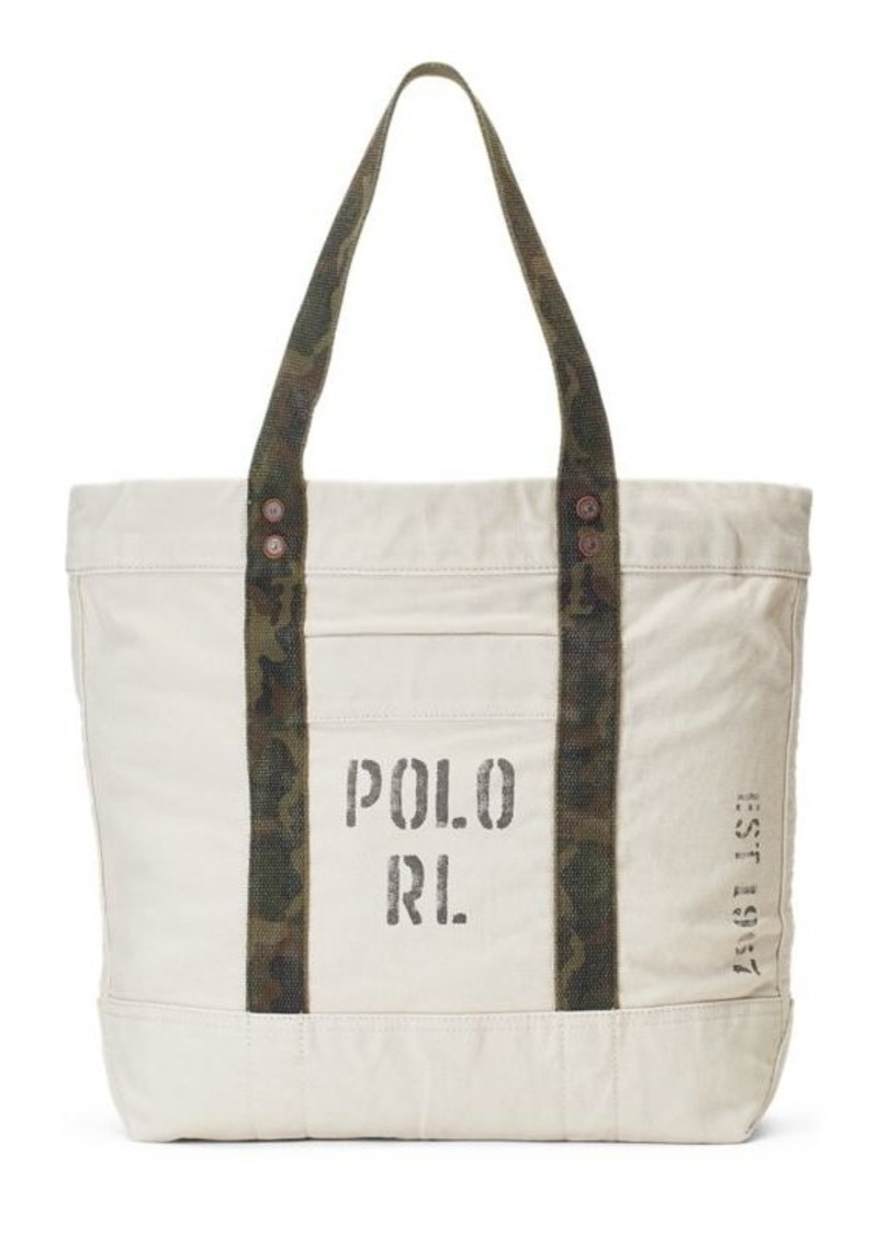 a05c25a457fc On Sale today! Ralph Lauren Faded-Text Canvas Tote Bag