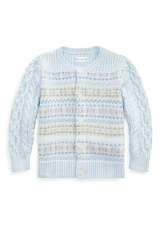 Ralph Lauren Fair Isle Cable-Knit Cotton/Wool Sweater  Size 6-24 Months