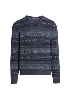 Ralph Lauren Fair Isle V-Neck Wool Sweater