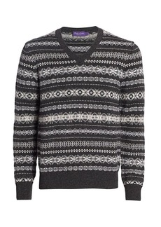 Ralph Lauren Fairisle Pattern Cashmere Knit Sweater