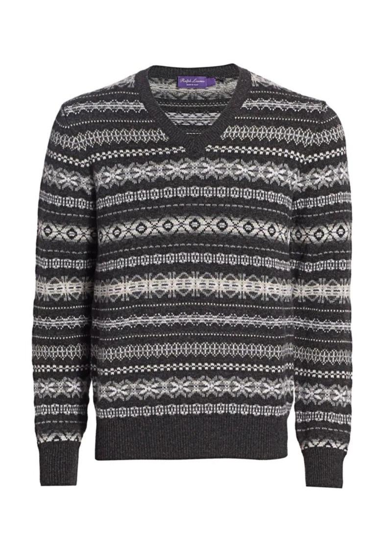 Ralph Lauren Fairisle Pattern Cashmere Knit Sweater