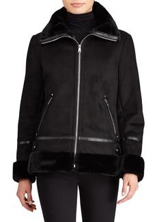 Ralph Lauren Faux Fur Trim Bomber Jacket