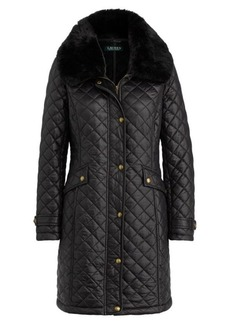Ralph Lauren Faux Fur-Trim Quilted Jacket