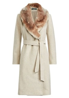 Ralph Lauren Faux Fur-Trim Shawl Coat