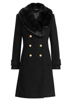 Ralph Lauren Faux-Fur-Trim Wool-Blend Coat