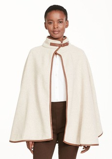 Ralph Lauren Faux Leather–Trim Swing Cape