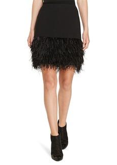 Feather-Trim Ponte Skirt