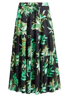 Ralph Lauren Fern-Print Poplin Midi Skirt