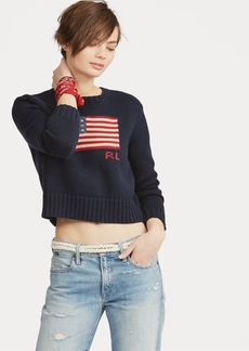 Ralph Lauren Flag Cropped Cotton Sweater