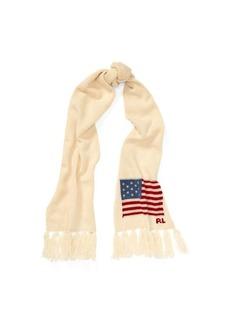 Ralph Lauren Flag Fringe Wool Scarf