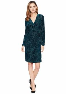 Ralph Lauren Flocked Velvet Wrap Dress