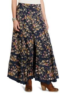 Floral Button-Front Maxiskirt