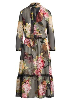 Ralph Lauren Floral Chiffon Tie-Neck Dress