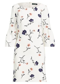 Ralph Lauren Floral Crepe Bell-Sleeve Dress