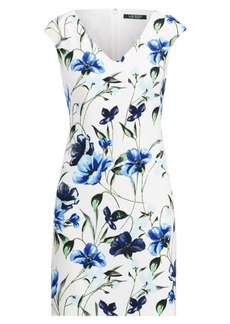 Ralph Lauren Floral Crepe Cap-Sleeve Dress