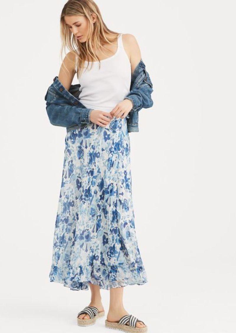 Ralph Lauren Floral Crinkle Silk Wrap Skirt
