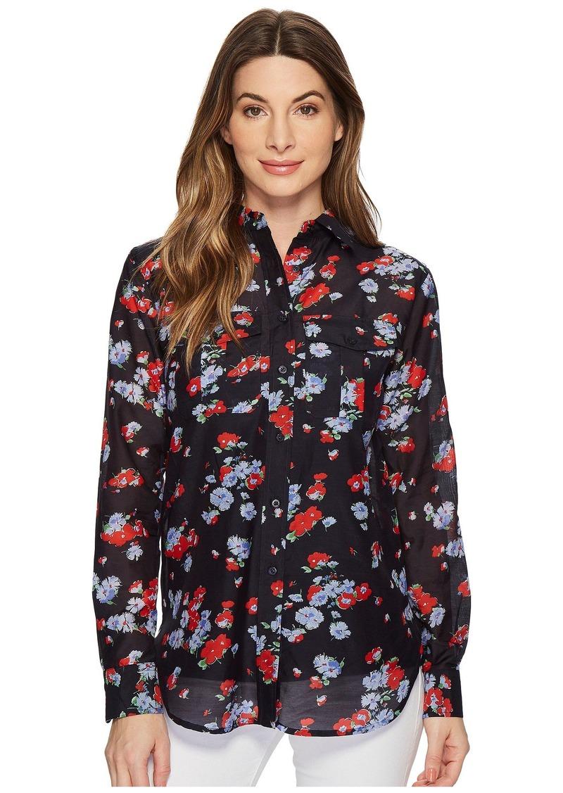Ralph Lauren Floral Crinkled Silk-Blend Blouse