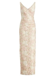 Ralph Lauren Floral Embroidered Mesh Gown