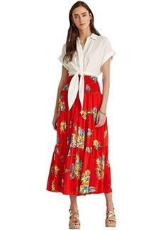 Ralph Lauren Floral Georgette Midi Skirt
