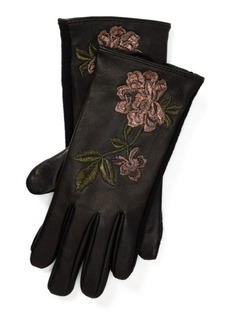 Ralph Lauren Floral Leather Tech Gloves