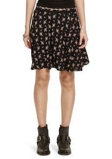 Floral-Print A-Line Miniskirt