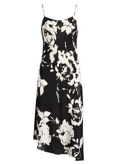 Floral-Print Crepe Slip Dress