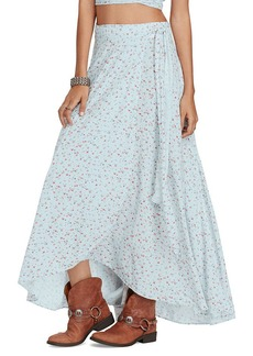 Floral-Print Wrap Maxiskirt