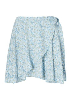Floral-Print Wrap Skirt