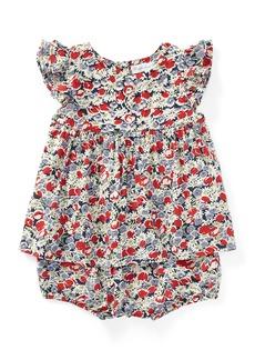 Ralph Lauren Floral Ruffle-Sleeve Top w/ Matching Bloomers