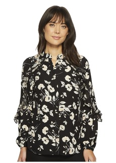 Ralph Lauren Floral Ruffled Georgette Shirt