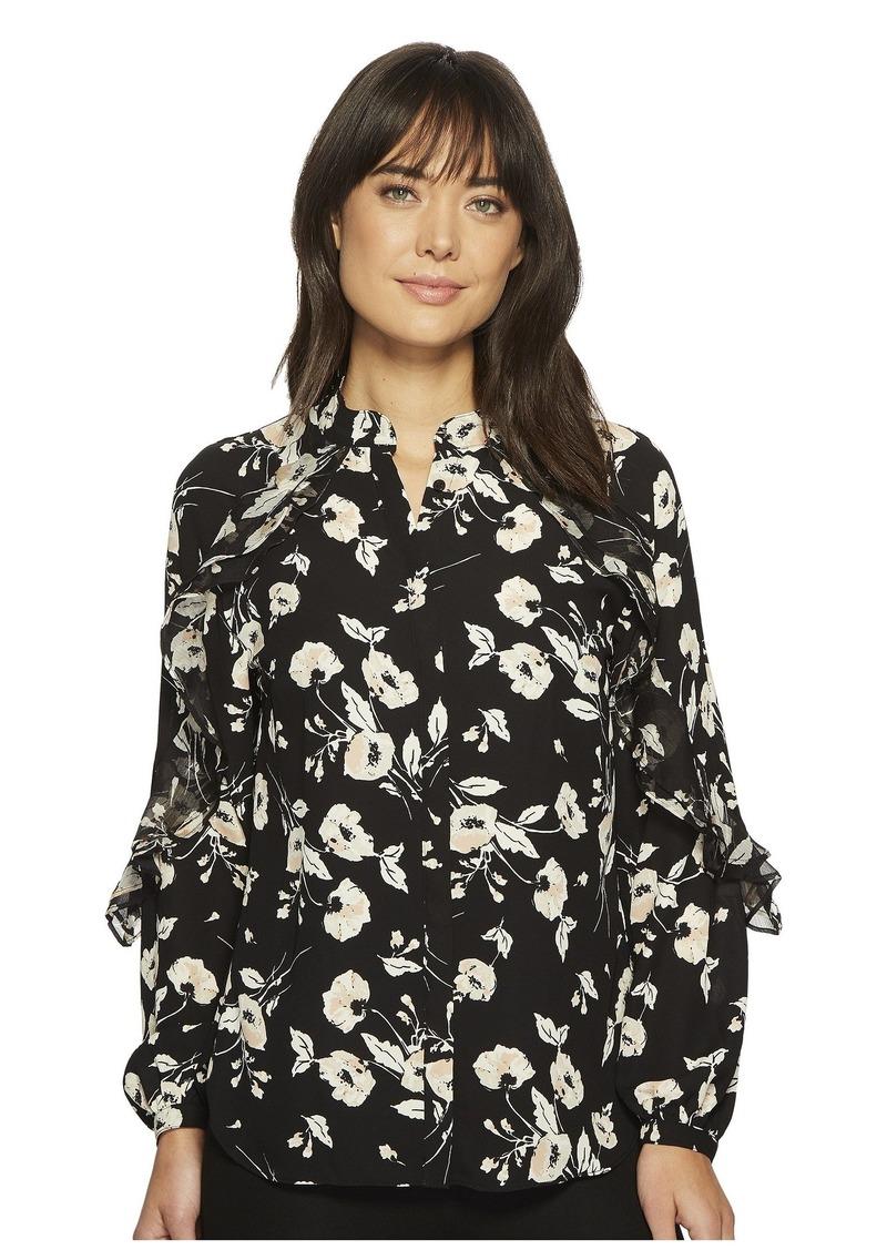 Ralph Lauren Floral Ruffled Georgette Shirt