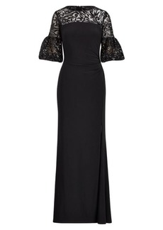Ralph Lauren Floral Sequined Jersey Gown