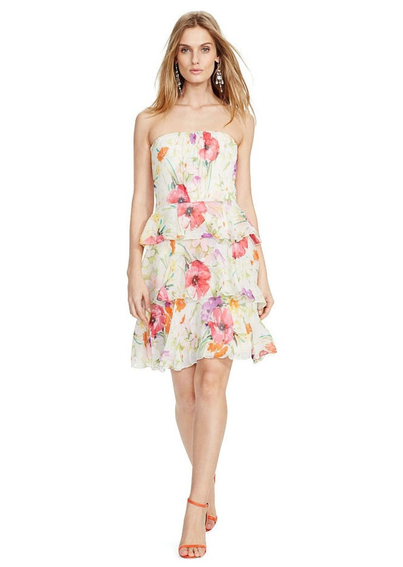 Ralph Lauren Floral Strapless Silk Dress