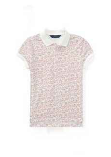 Ralph Lauren Floral Stretch Mesh Polo Shirt