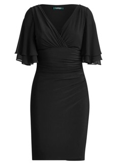 Ralph Lauren Flutter-Sleeve Georgette Dress