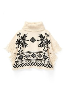 Ralph Lauren Fringe-Trim Graphic Poncho